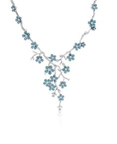 Flower necklace in gold with Paraiba and diamonds by Simon G.