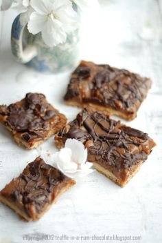 shortcrust squares with salted dulce de leche & chocolate