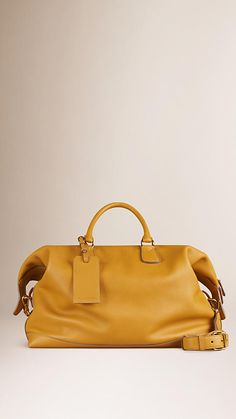 Bright straw Grainy Leather Holdall - Image 1