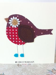 Handmade robin redbreast greetings card, bird birthday card, papergoods