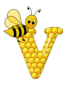 Alphabet letters bee on honeycomb. Bee Crafts, Preschool Crafts, Scrapbook Letters, Cartoon Clip, Bee Party, Cute Bee, Letter V, Alphabet And Numbers, Alphabet Letters