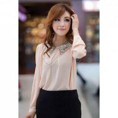 $7.54 Sequin Shirt Neck Long Sleeves Chiffon Refreshing Style Shirt For Women