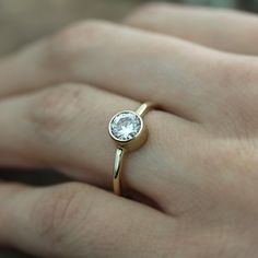 14k gold moissanite engagement ring - .80ct