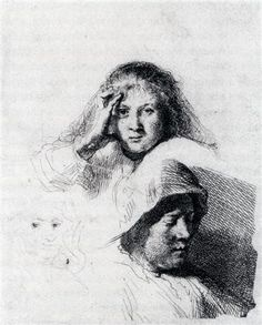 Sheet Of Sketches With A Portrait Of Saskia - Rembrandt  - Completion Date: c.1635