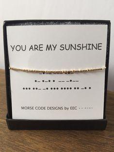You are my sunshine MORSE CODE bracelet secret message jewelry Morse code jewelry secret code perfect bridesmaid gift daughter gift Bracelets Bff, Beaded Bracelets, Morse Code Tattoo, Morse Code Words, Code Art, Morse Code Bracelet, Tattoos For Kids, Tattoo Kids, Tattoo Mom