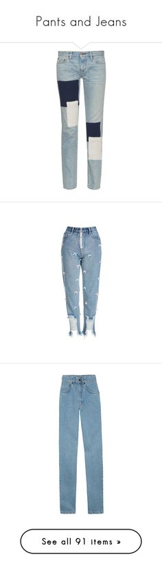 """""""Pants and Jeans"""" by emmascreative ❤ liked on Polyvore featuring jeans, pants, bottoms, pantalones, trousers, light indigo, straight leg jeans, simon miller jeans, patchwork jeans and blue jeans"""