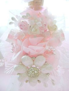 Romantic Pink Vintage Bejeweled Bottle http://www.crystalsrosecottagechic.com