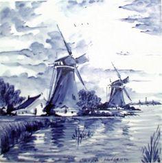 Molens, blue and white tile, Holland