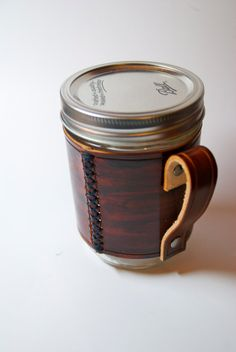 handmade leather wraps for Mason Jars..coverts into coffee mugs