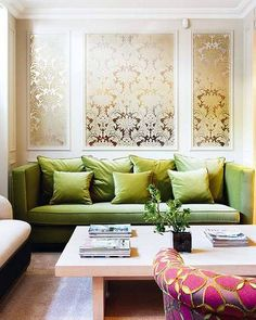 I pinned this because I really love pink and green together. I think this is a bright and cheerful room.