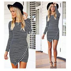 """Long Sleeve Bodycon Mini Dress New without tags* Striped black and white asymmetric hem dress. Tag reads Large but runs small will fit a size Medium best. Length is 32.8"""" Dresses Mini"""