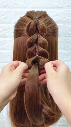 15 simple summer hairstyles for long hair # hair Try On Hairstyles, Braided Hairstyles Tutorials, Summer Hairstyles, Simple Hairstyles, Hairstyle Ideas, Everyday Hairstyles, Bob Hairstyle, Wedding Hairstyles, Hair Videos