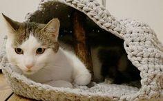 Deine Katze hat noch keinen kuscheligen Schlafplatz? Dann häkle doch eine kleine Höhle aus Jerseygarn für sie!