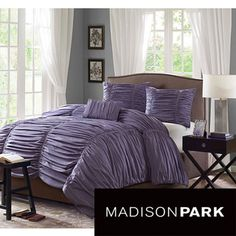 Madison Park 'Melrose' Plum 4-piece Duvet Cover Set | Overstock.com Shopping - The Best Deals on Duvet Covers