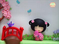 Artesanato Biscuit, bonecas japonesas, lembrancinha, quadro, maternidade, estilo oriental, kimono, ímã, kanji, bodas, 80