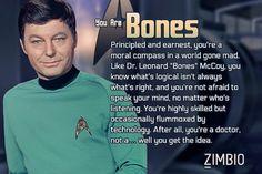 Which Star Trek Original Series character are you? I got Bones! :) Click to take the quiz | via Zimbio