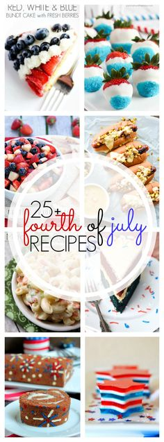 More than 25 MUST-see July 4th Recipes! From appetizers to desserts - you won't want to miss these red, white & blue recipes that are perfect to make for the 4th of July!