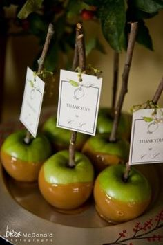 Candy apple favor complete with thank you card.  See more candy apple wedding favors and party ideas at www.one-stop-party-ideas.com