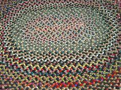 Vintage Wool Braided Rug 4 5 x 5 5 Ft | eBay