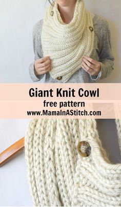 """Two Ways"" Giant Knit Ribbed Cowl Free Knitting Pattern via @Mama In A Stitch Knit and Crochet Patterns - Jessica…"