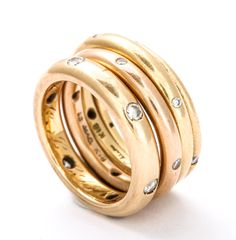 Points of Light in Gold and Diamond Stacking Rings