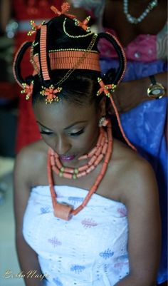 Africa | Nigerian (Niger delta) and Benin traditional wedding attire.  The importance of coral has a long tradition.