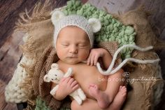 Newborn boy baby bear nested bowl pose tan, brown, sage green, and cream  |  Bella Rose Portraits San Diego County newborn and baby photographer photography posing techniques Oceanside, CA