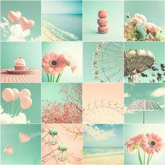 Pastel Color - Photo - Cupcake - Flowers - Summer - Sea - Heart balloon - Macaroon