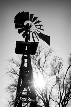Old West Windmill  Black & White 8X12 Photo  by JimAmosPhotos22, $25.00