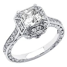 14K White Gold High Poliosh Finish Princess-cut 2.00 CTW Equivalent Top Quality Shines CZ Cubic Zirconia Ladies Solitaire Wedding Engagement Ring Band Wedding Ring Finger REVIEW