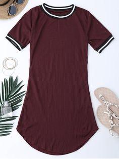Vestido Mini Acanalado con Panel de Rayas - Vino Rojo 2XL