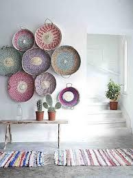 bohemian interiors baskets as wall art