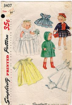 1950s Vintage Simplicity Sewing Pattern 3407 14 Inch Bridal Doll Clothes Set