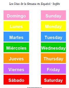 Días de la Semana en Inglés para Imprimir