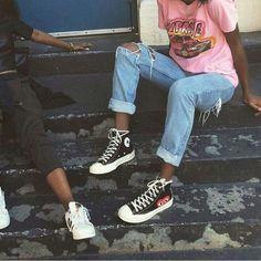 Tee + Distressed Denim + Sneakers