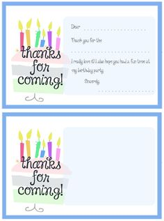 Printable Cake Thank You Cards