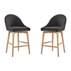 Inspire Q Conrad Danish Modern Swivel Walnut Counter Chairs In Smoke (Set Of