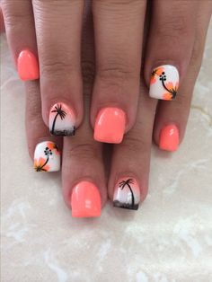 Uñas de moda nail art ideas for summer beach, acrylic summer nails beach, acrylic Cute Nail Art, Cute Nails, Pretty Nails, Beach Nail Designs, Toe Nail Designs, Tropical Nail Designs, Nails Design, Tropical Flower Nails, Hibiscus Nail Art
