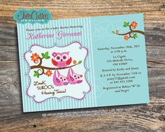 Twins Baby Shower Owl Invitation  Printable  by TresCutiesDesigns, $15.00