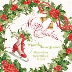 Christmas Wreath and arrangements. Christmas by WatercolorSeasons