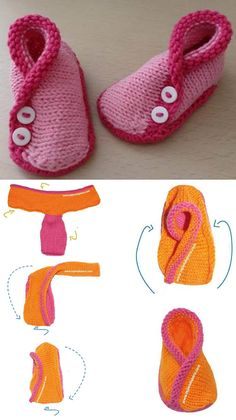 New crochet baby socks free pattern sew 41 Ideas Crochet Baby Socks, Baby Booties Knitting Pattern, Knit Baby Shoes, Crochet Baby Booties, Crochet Slippers, Knitted Booties, Beginner Knitting Patterns, Free Knitting, Baby Kimono
