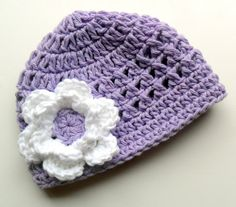 Crochet baby Hat Girls Cotton Beanie Hat Lavender and ♥ by Karenisa, $20.00