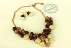 Onix gemstones and brown glass beads necklace/earrings