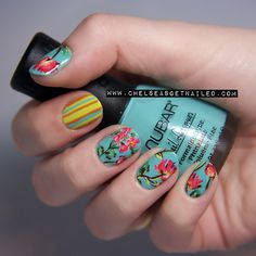 """getnail-d:    """"Coral Floral"""" nails.  See my blog post here for more photos, colors used, and where I got my inspiration!    Positively gorgeous."""