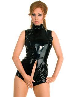 女性ラテックスボンデージセクシーなPUレザーのレオタードクロッチレスプラスサイズのランジェリーキャットスーツエロボディCatwomenスーツ