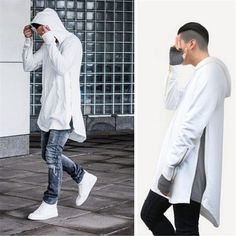 British Style Hi-Street Mens Hooded Hip Hop Sweatshirts With Gold Side Zipper Fashion Men Extended Hoodie Arc Cut Long Hoodies