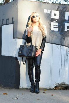 Muito Couro!!  Bolsa Prada; Óculos Dior; Calça H&M; Blusa Zara; Bota Zara http://allbyday.com/look-do-dia-muito-couro/