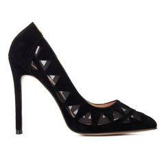 Yoins Black Triangle Hollow Out Suede High Heels (€33) ❤ liked on Polyvore featuring shoes, pumps, heels, yoins, black, black stilettos, suede pointed toe pumps, pointy-toe pumps, black high heel pumps and pointed toe pumps