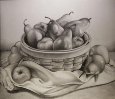 I& surprised I never uploaded this! This is a still life fruit bowl drawing I did over the winter. Fruit Basket Drawing, Fruit Bowl Drawing, Fruits Drawing, Realistic Pencil Drawings, Graphite Drawings, Pencil Art Drawings, Art Drawings Sketches, Still Life Sketch, Still Life Drawing