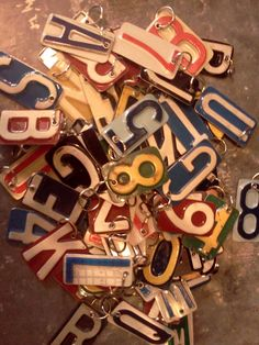 Old license plates turned key chains